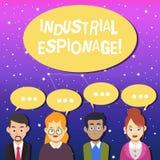 Skriva anmärkningen som visar industriellt spionage Affärsfoto som ställer ut formen av spionage som föras för kommersiella  vektor illustrationer