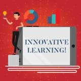 Skriva anmärkningen som visar innovativt lära Affärsfoto som ställer ut tvärvetenskaplig undervisning som rör analytiskt vektor illustrationer