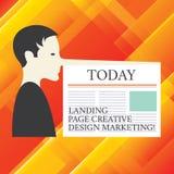Skriva anmärkningen som visar landningsida idérik designmarknadsföring Affärsfoto som ställer ut Homepage som annonserar den soci arkivfoton
