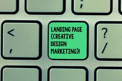 Skriva anmärkningen som visar landningsida idérik designmarknadsföring Affärsfoto som ställer ut Homepage som annonserar socialt  arkivfoto