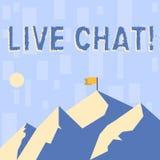 Skriva anmärkningen som visar Live Chat Affärsfoto som direktanslutet ställer ut realtidsmassmediakonversation för att meddela be royaltyfri illustrationer