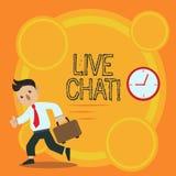 Skriva anmärkningen som visar Live Chat Affärsfoto som ställer ut rengöringsdukservice som låter affärer eller vänner meddela stock illustrationer