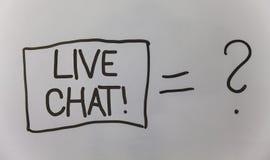 Skriva anmärkningen som visar Live Chat Motivational Call Affärsfotoet som ställer ut realtidsmassmediakonversation meddelar dire Arkivfoton