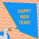 Skriva anmärkningen som visar lyckligt nytt år Affärsfoto som ställer ut glad Xmas för lyckönskan alla början av Januari stock illustrationer