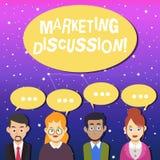 Skriva anmärkningen som visar marknadsföringsdiskussion Affärsfoto som ställer ut samtal av företaget för att främja den k stock illustrationer