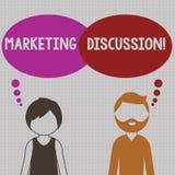 Skriva anmärkningen som visar marknadsföringsdiskussion Affärsfoto som ställer ut samtal av företaget för att främja köpa stock illustrationer