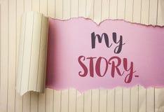 Skriva anmärkningen som visar min berättelse Affärsfoto som ställer ut portföljen för profil för personlig historia för biografip arkivbild