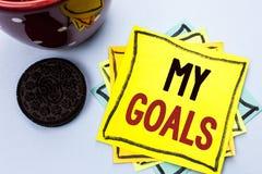 Skriva anmärkningen som visar mina mål Affärsfoto som ställer ut writen för vision för mål för plan för karriär för beslutsamhet  Royaltyfria Foton