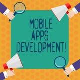 Skriva anmärkningen som visar mobil Appsutveckling Affärsfoto som ställer ut process av att framkalla den mobila appen för digita stock illustrationer
