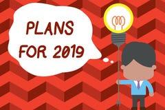 Skriva anmärkningen som visar plan för 2019 Affärsfoto som ställer ut en avsikt eller ett beslut om vad ett ska göra stock illustrationer