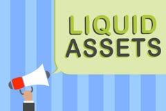 Skriva anmärkningen som visar vätsketillgångar Affärsfotoet som ställer ut uppskjuten kassa- och balansmarknadslikviditet, lagerf royaltyfri illustrationer