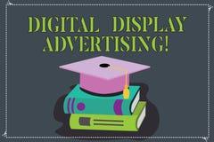 Skriva anmärkningsvisning annonsering för Digital skärm Att ställa ut för affärsfoto framför ett kommersiellt meddelande genom at vektor illustrationer
