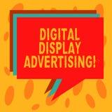 Skriva anmärkningsvisning annonsering för Digital skärm Att ställa ut för affärsfoto framför ett kommersiellt meddelande genom at royaltyfri illustrationer