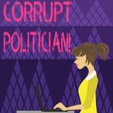 Skriva anm?rkningsvisning den korrumperade politikern Aff?rsfoto som st?ller ut en offentlig ledare som missbruk av offentlig myn vektor illustrationer
