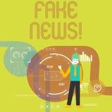 Skriva anmärkningsvisning fejka nyheterna Affärsfoto som ställer ut falska berättelser som verkar att fördela på internet genom a stock illustrationer