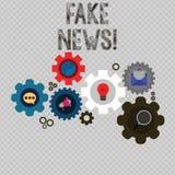 Skriva anmärkningsvisning fejka nyheterna Affärsfoto som ställer ut falska berättelser som verkar att fördela på internet genom a vektor illustrationer