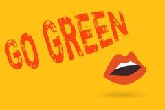 Skriva anmärkningsvisning gå grön Affärsfoto som ställer ut göra mer miljövänlig beslut förminskar så vektor illustrationer