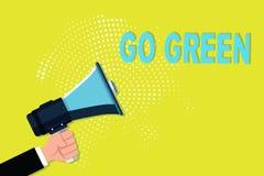 Skriva anmärkningsvisning gå grön Affärsfotoet som ställer ut göra mer miljövänlig beslut förminskar så, återanvänder royaltyfri illustrationer