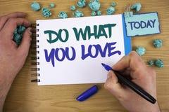 Skriva anmärkningsvisning gör vad du älskar Affärsfoto som ställer ut positiv Desire Happiness Interest Pleasure Happy prima text arkivfoto