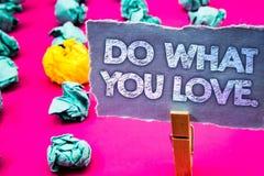 Skriva anmärkningsvisning gör vad du älskar Affärsfotoet som ställer ut det positiva Desire Happiness Interest Pleasure Happy val arkivbild