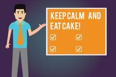 Skriva anmärkningsvisning håll stillhet och äta kakan Att ställa ut för affärsfoto kopplar av och tycker om att äta en söt mateft stock illustrationer