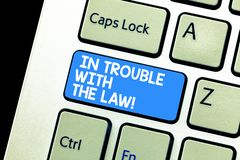 Skriva anmärkningsvisning i problem med lagen Affärsfoto som ställer ut rättvisa för brottsliga handlingar för lagliga problem br arkivbild
