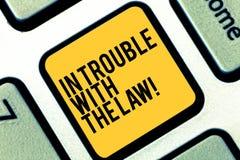 Skriva anmärkningsvisning i problem med lagen Affärsfoto som ställer ut rättvisa för brottsliga handlingar för lagliga problem br royaltyfri fotografi