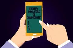 Skriva anmärkningsvisning identifiera indikatorer av kompromissen Att ställa ut för affärsfoto avkänner malwareonline-attacker at royaltyfri illustrationer