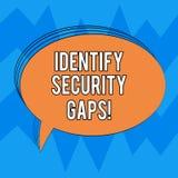Skriva anmärkningsvisning identifiera säkerhetsmellanrum Att ställa ut för affärsfoto bestämmer huruvida styrningen är på plats stock illustrationer
