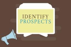 Skriva anmärkningsvisning identifiera utsikter Affärsfoto som ställer ut presumtiva givare för möjlig kund för klient ideal stock illustrationer