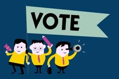 Skriva anmärkningsvisning rösta Affärsfotoet som ställer ut handling av att uttrycka en formell indikering av den primaa majorite royaltyfri illustrationer