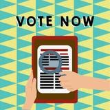Skriva anmärkningsvisning rösta nu Affärsfoto som ställer ut formell indikering av valet mellan två eller mer kurser av royaltyfri illustrationer