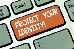 Skriva anmärkningsvisning skydda din identitet Affärsfoto som ställer ut möjliggöra avskildhet på din sociala massmediaräkenskap royaltyfri fotografi