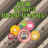 Skriva anmärkningsvisning upplösningar för nytt år S Affärsfotoet som ställer ut målmål, uppsätta som mål beslut för nästa 365 royaltyfri illustrationer