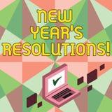 Skriva anmärkningsvisning upplösningar för nytt år S Affärsfotoet som ställer ut målmål, uppsätta som mål beslut för nästa 365 vektor illustrationer