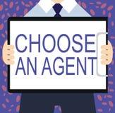 Skriva anmärkningsvisning välj ett medel Att ställa ut för affärsfoto väljer någon som väljer beslut på vägnar av dig stock illustrationer