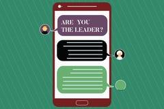 Skriva anmärkningsvisning var dig Leaderquestionen Affärsfoto som ställer ut ledarskap som visar ta omsorg av royaltyfri illustrationer