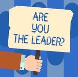 Skriva anmärkningsvisning var dig Leaderquestionen Affärsfoto som ställer ut ledarskap som visar ta omsorg av vektor illustrationer