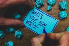 Skriva anmärkningsvisning vilket s är din hem- värda fråga Affärsfoto som ställer ut värde av en inköpspris Rate Foggy för husege royaltyfri fotografi