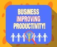 Skriva anmärkningsvisningaffären som förbättrar produktivitet Affärsfoto som ställer ut förhöjning av effektivitet, i att produce royaltyfri illustrationer