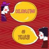 Skriva anmärkningsvisningen som firar 40 år Affärsfoto som ställer ut hedra Ruby Jubilee Commemorating en special dag royaltyfri illustrationer