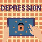 Skriva anmärkningsvisningfördjupning Affärsfoto som ställer ut känslor av sträng förtvivlan- och nedstämdhetlynneoordning stock illustrationer