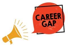 Skriva anmärkningsvisningkarriären Gap Affärsfoto som ställer ut a-plats var i dig stoppa att arbeta vid ditt yrke för ett tag Me arkivfoton