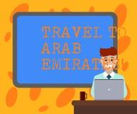 Skriva anmärkningsvisninglopp till arabiska emirater Att ställa ut för affärsfoto har en tur till den mellersta öst att veta andr royaltyfri illustrationer