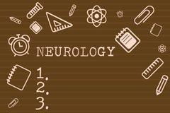 Skriva anmärkningsvisningneurologi Affärsfoto som ställer ut filialen av medicin som handlar med oordningar av det nervöst stock illustrationer
