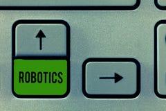 Skriva anmärkningsvisningrobotteknik Affärsfoto som ställer ut filialen av teknologi som handlar med designkonstruktion av arkivfoton