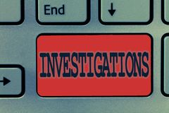 Skriva anmärkningsvisningutredningar Affärsfoto som ställer ut den formella handlingen eller den systematiska undersökningen om n arkivbild