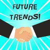 Skriva anm?rkningen som visar framtida trender Aff?rsfoto som st?ller ut prognoser som p?verkar teknologikunder och aff?rshanden royaltyfri illustrationer
