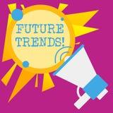 Skriva anm?rkningen som visar framtida trender Aff?rsfoto som st?ller ut prognoser som p?verkar teknologikunder och aff?r stock illustrationer