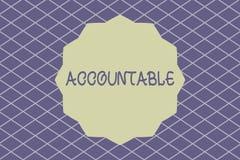 Skriva ansvarig anmärkningsuppvisning Ställa ut för affärsfoto som krävs eller förväntas för att försvara handlingar eller beslut stock illustrationer